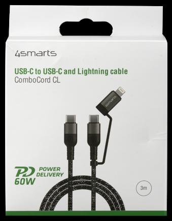 4smarts USB-C/USB-C & Lightning Kabel ComboCord CL 1.5m textil
